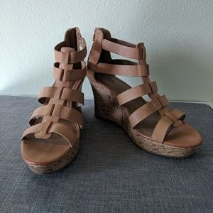 A New Approach tan cork wedge sandals 8.5